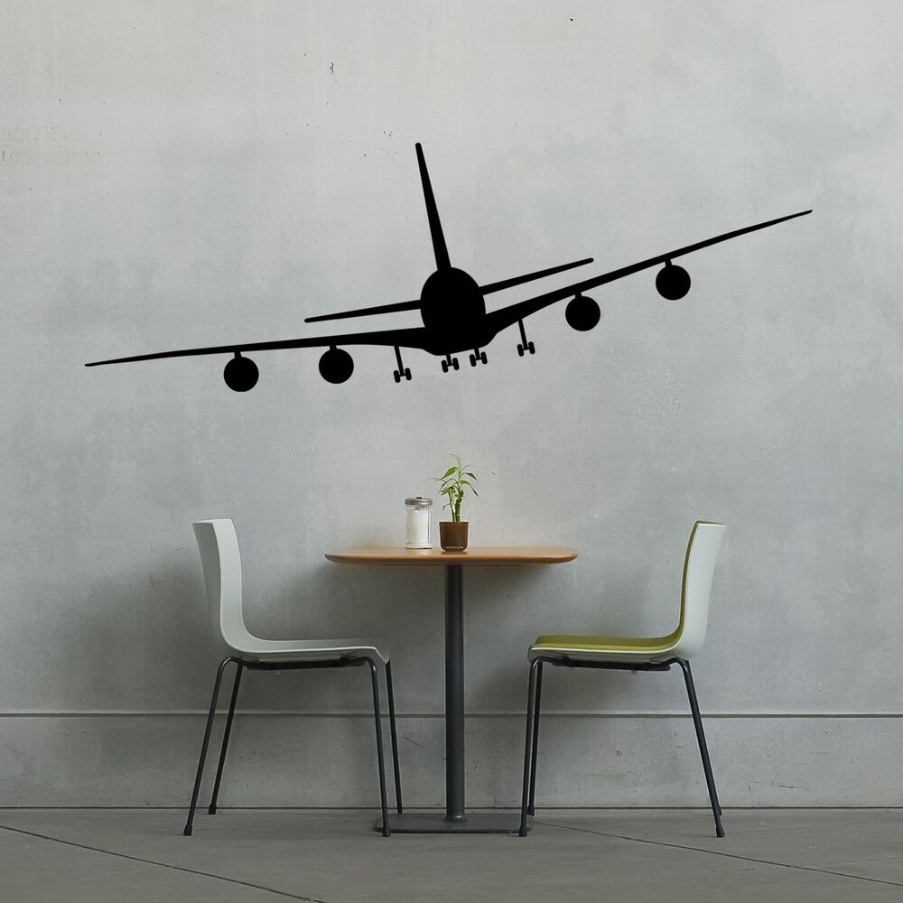 Airplane wall vinyl decal sticker family kids room for Aeroplane wall mural