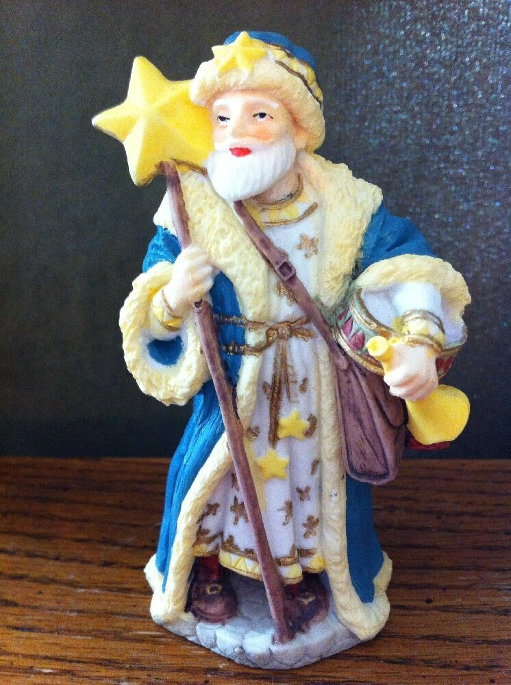International santa claus resin blue yellow poland star