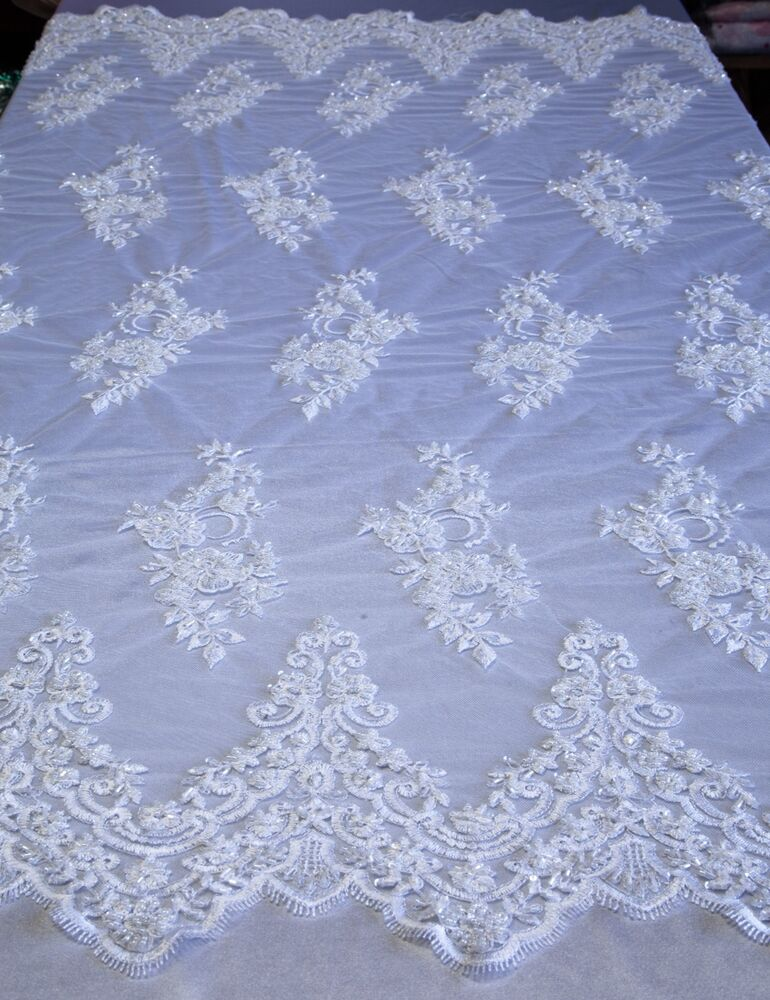 white bridal floral mesh w embroidery beaded lace