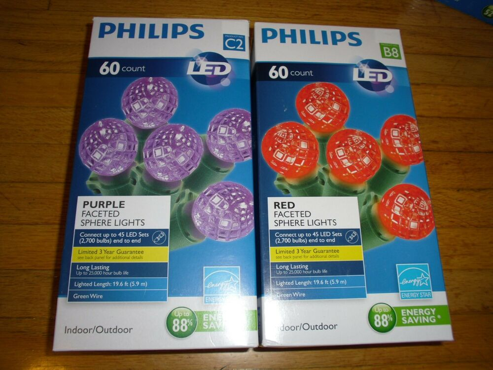 New Philips 60 Pcs Red / Purple LED Faceted Sphere Lights ...