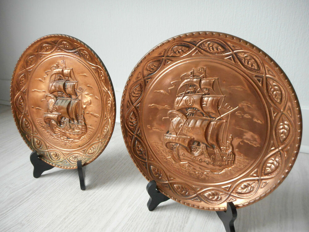 Decorative Wall Plates For Hanging: Vintage French Decorative Wall Hanging Copper Plates With