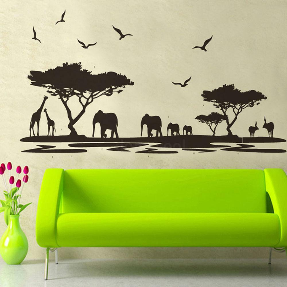 safari wall decor for living room safari themed wall sticker jungle animal tree 24407