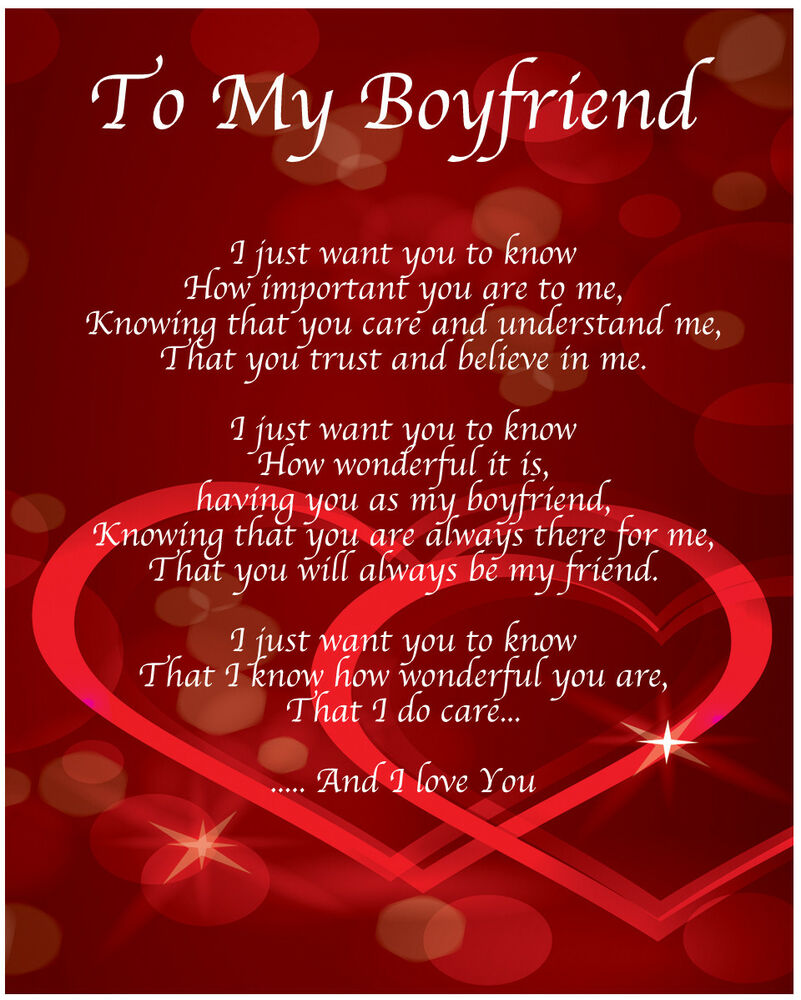 To My Boyfriend Poem Birthday Christmas Valentines Day