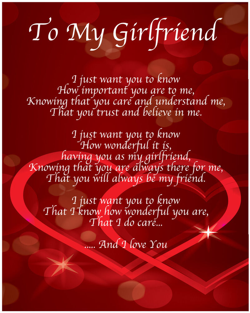 To My Girlfriend Poem Birthday Christmas Valentines Day Gift Present