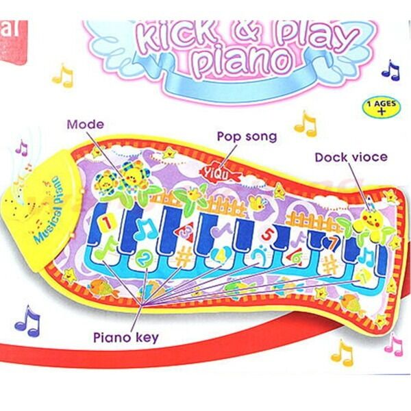 New fish animal mat touch kick play fun piano music toys for Baby fish song