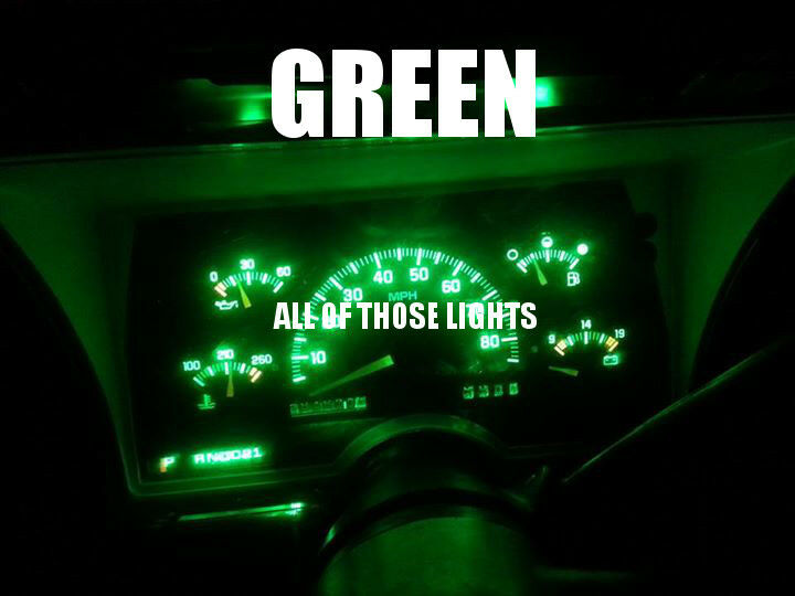 6 Green T10 Led Instrument Panel Cluster Dash Light Bulb