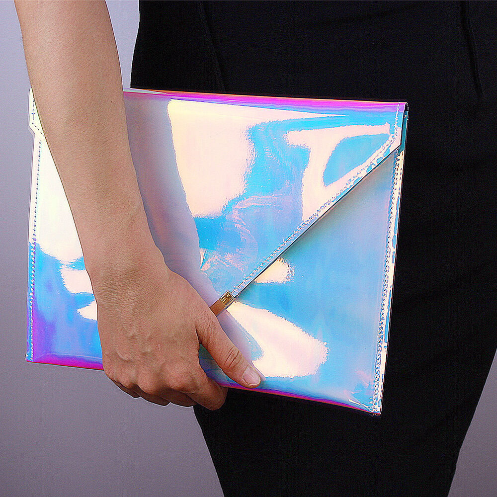 Hologram Silvers: Holographic Envelope Clutch Golden Angle Hologram Metallic