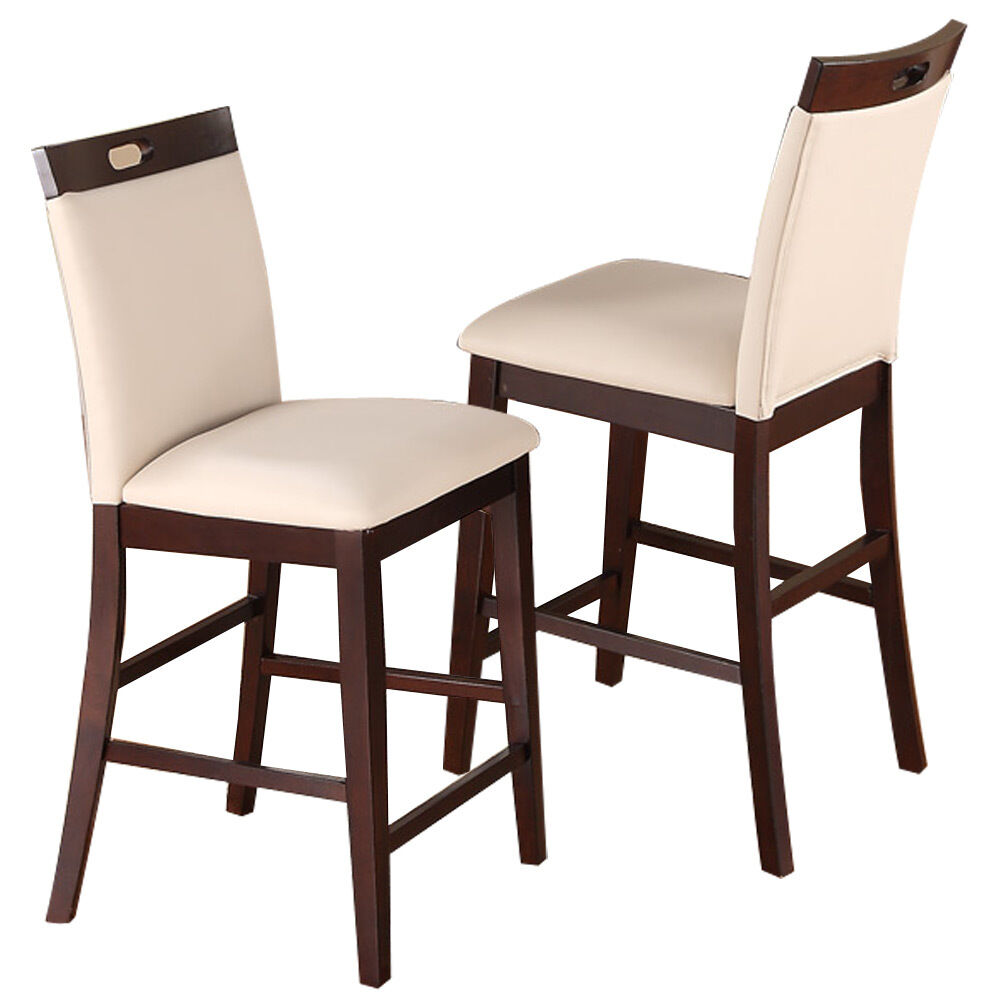 2 Pc Dining High Counter Height Side Chair Bar Stool 24 H Espresso Cream Pu Seat Ebay