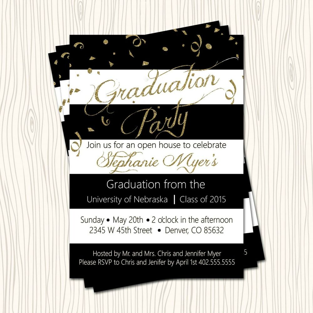 Gold Glitter Black High School / College Graduation party ...