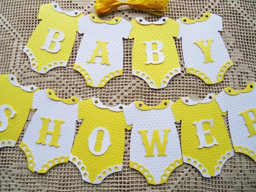 10 Bunting Flags Banners Garland Baby Shower Yellow White Unisex Diy