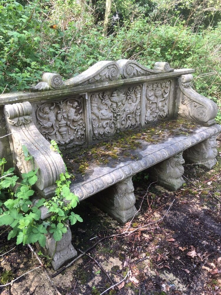 Hand Carved Solid Stone Bench | eBay