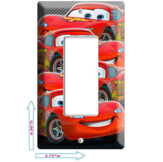 CARS 2 LIGHTNING MCQUEEN DISNEY SINGLE GFI LIGHT SWITCH