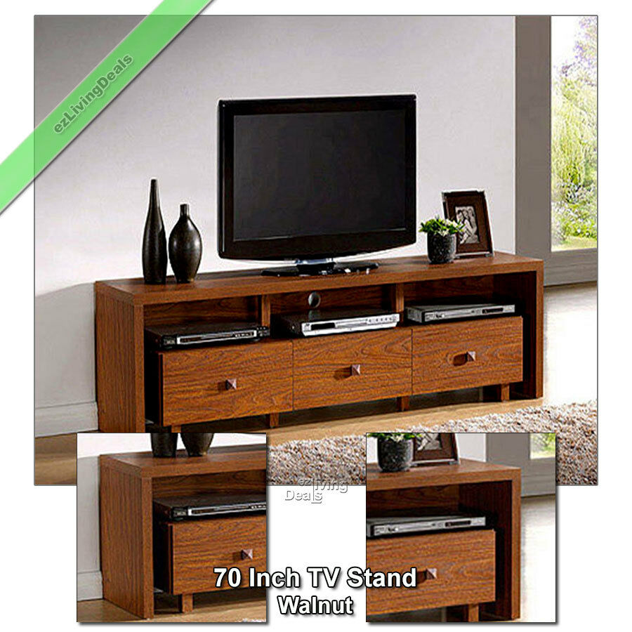 70 inch tv stand entertainment media console table stands for flat screen walnut ebay. Black Bedroom Furniture Sets. Home Design Ideas