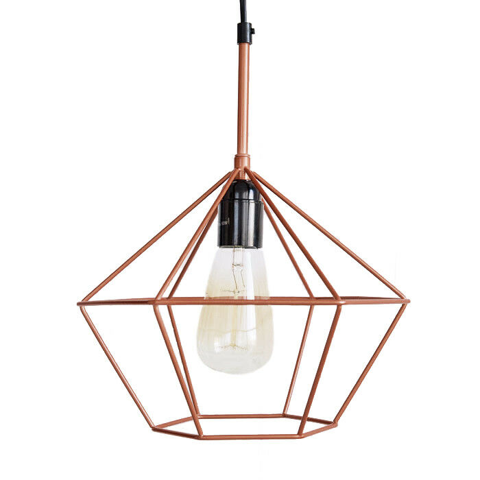 Diamond Cage PENDANT LIGHT Copper Tone Wire Lamp Retro