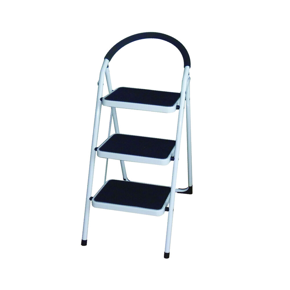 3 Step Non Slip Tread Folding Step Ladder Kitchen Stool Diy Home Safety Ladders Ebay