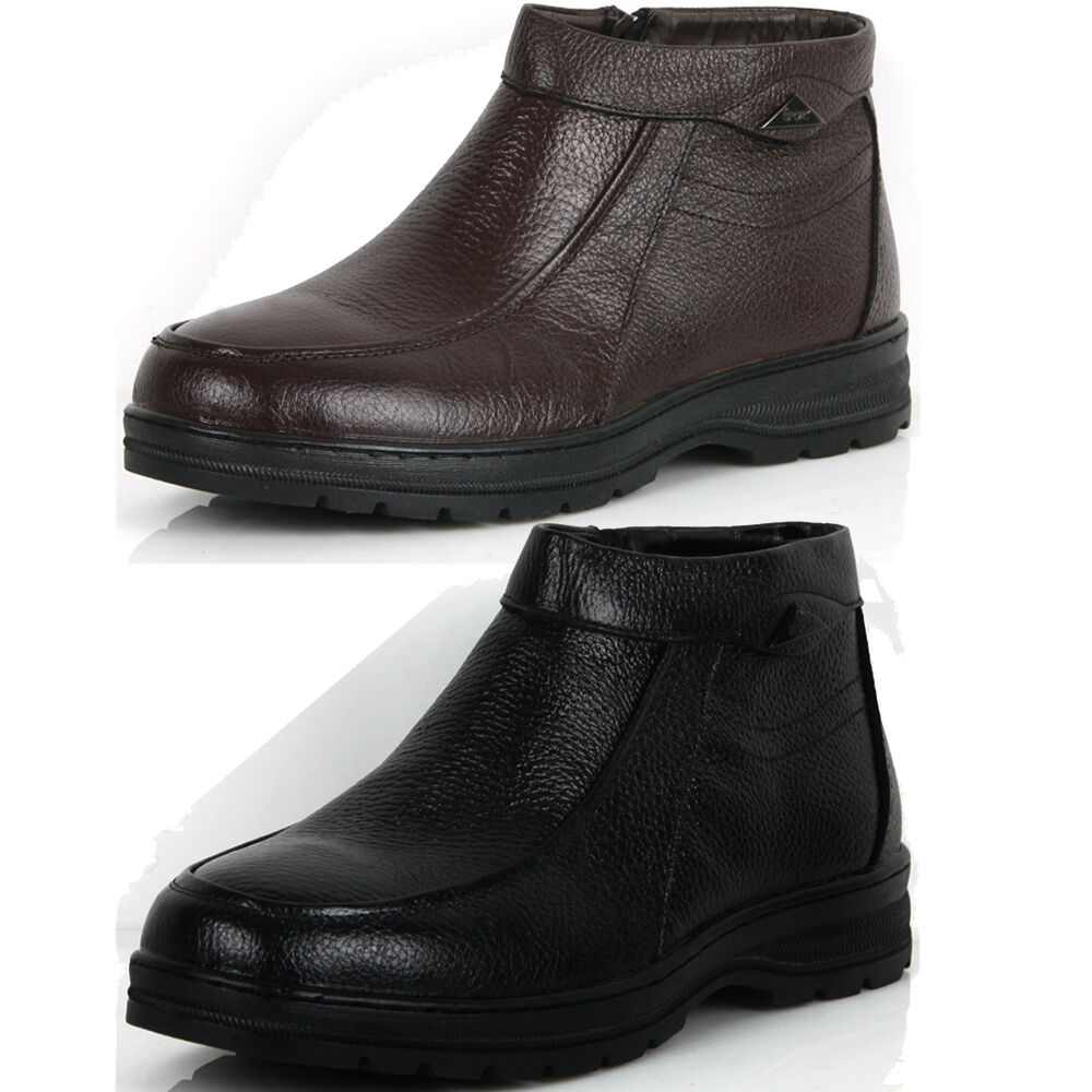 New Mens Casual Dress Leather Snow Warm Winter Slip on