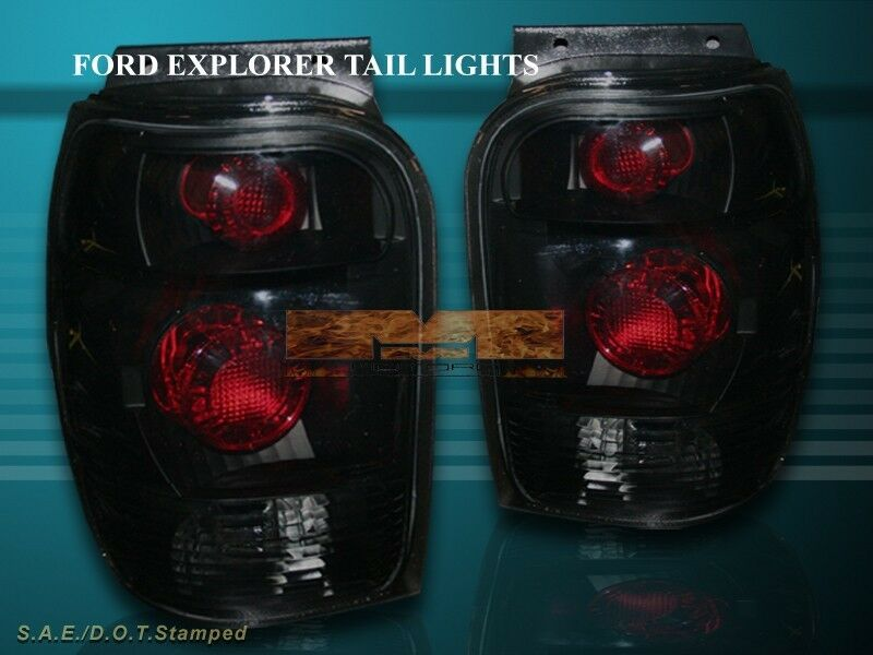 98 01 ford explorer mercury mountaineer tail lights rear lamps black. Black Bedroom Furniture Sets. Home Design Ideas