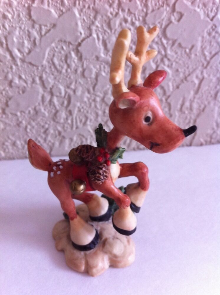 Enesco resin the north pole village santa reindeer