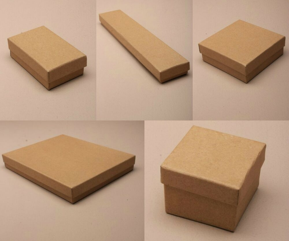 Pack Of 12 Natural Brown Card Gift Jewellery Boxes Black