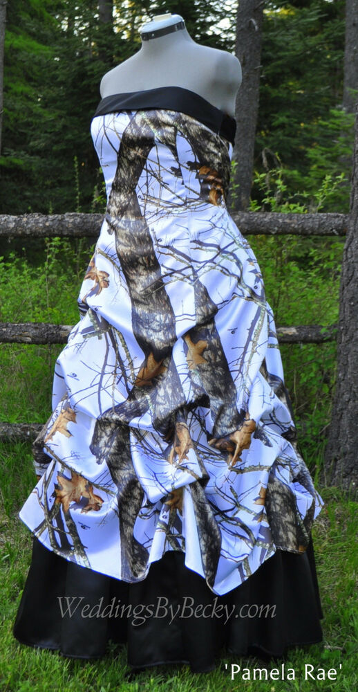 New camo wedding gown pick up skirt custom made in the for Pick up skirt wedding dresses