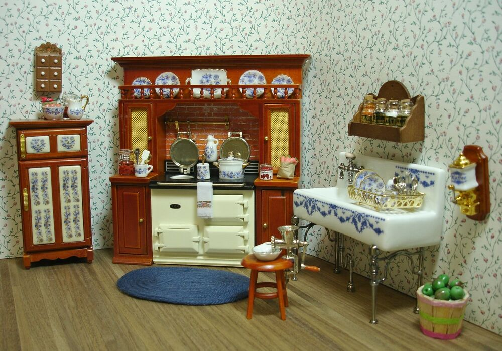 dollhouse kitchen furniture amanda s decorated victorian kitchen dollhouse miniature