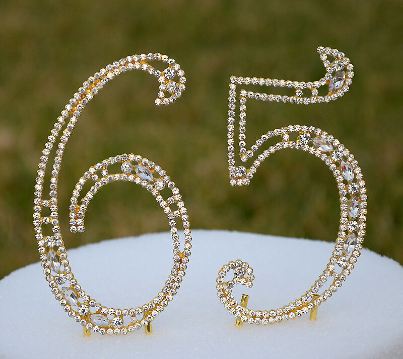 gold bling wedding cake topper 5 quot rhinestone gold number sixty five 65 bling cake topper 14748