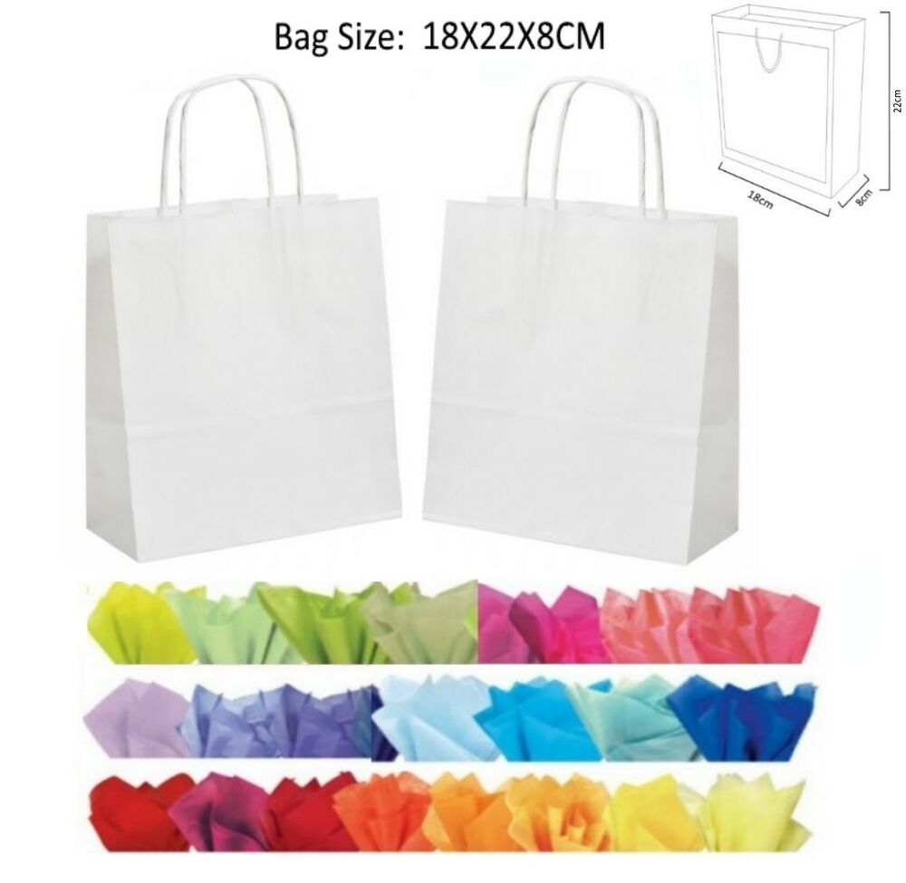 10 White Paper Gift Bags With Tissue Paper Recyclable