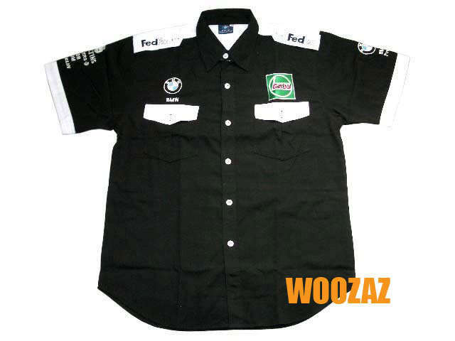 Bmw f motor racing embroidered cotton pit crew shirt