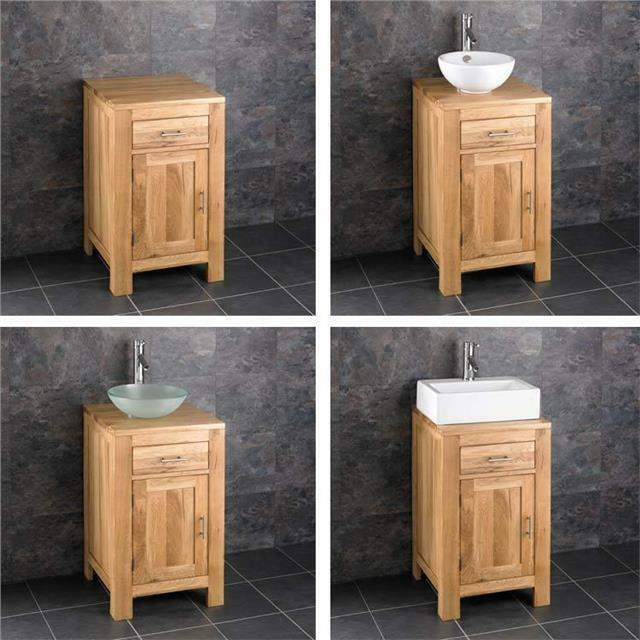 Small Sink Units For Bathrooms : Solid Oak 45cm Small Bathroom Vanity Unit Cabinet Ceramic Bowl Basin ...