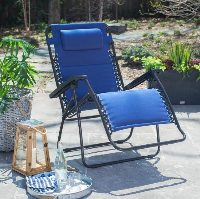 NEW Zero Gravity PADDED X Wide NAVY BLUE Recliner Patio Pool Chair FREE SHIP