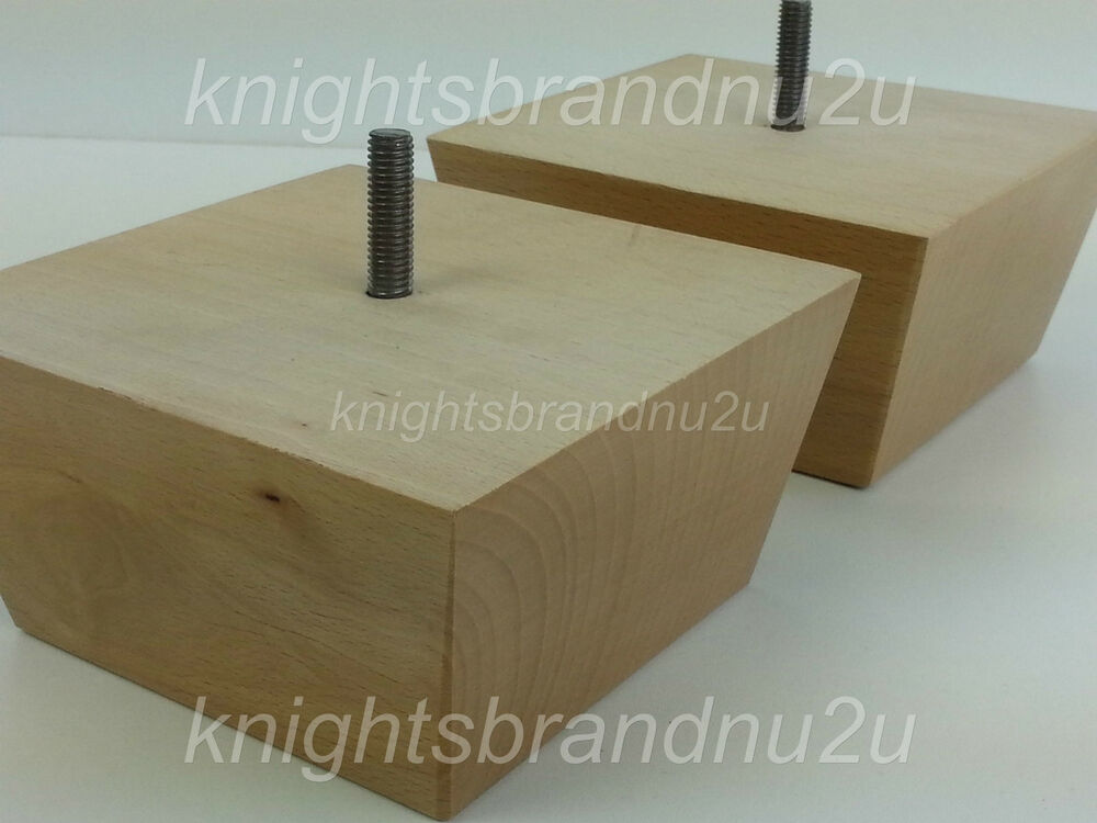 4x SOLID WOOD FURNITURE FEET LEGS FOR SOFAS CHAIRS STOOLS CABINETS ...