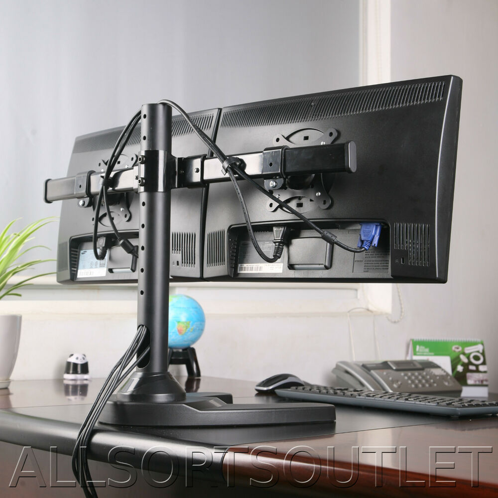 Dual Twin Monitor Desk Stand Curved Arm Freestanding
