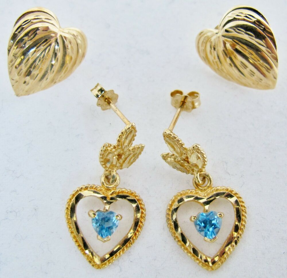 goldheart earrings 2 pair of 14k yellow gold earrings with blue topaz 6105