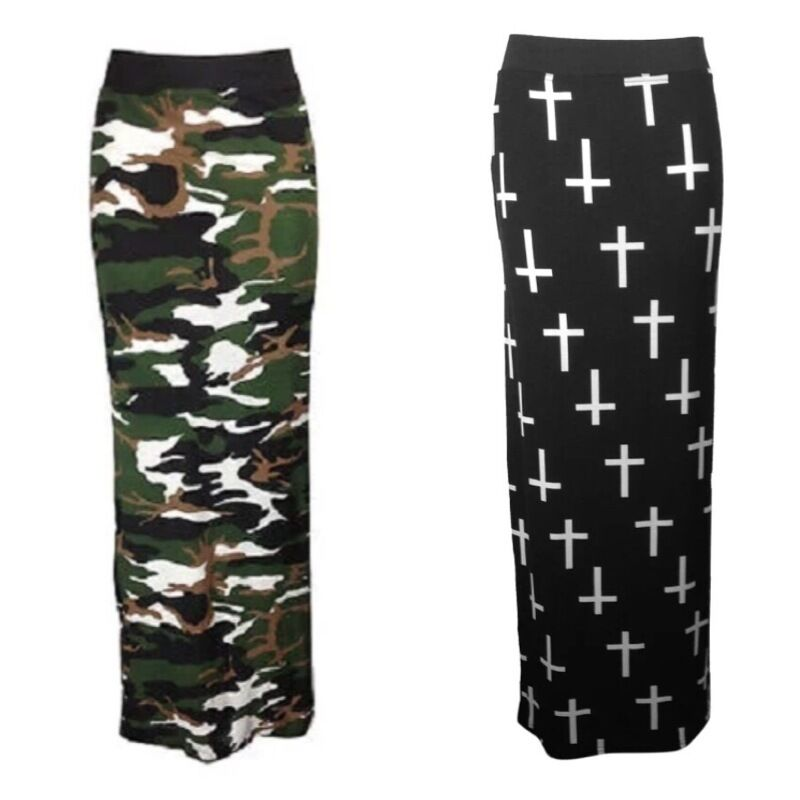 womens army camouflage cross print stretch