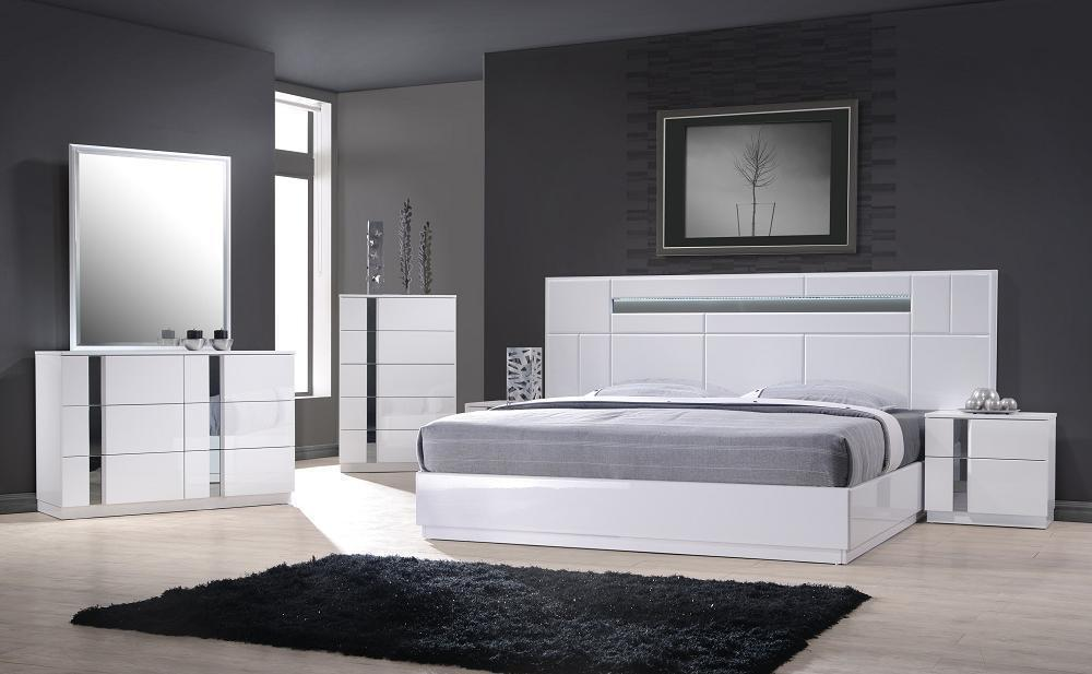Monte Carlo King Size White Lacquer Chrome 5pc Bedroom Set W Light Ebay