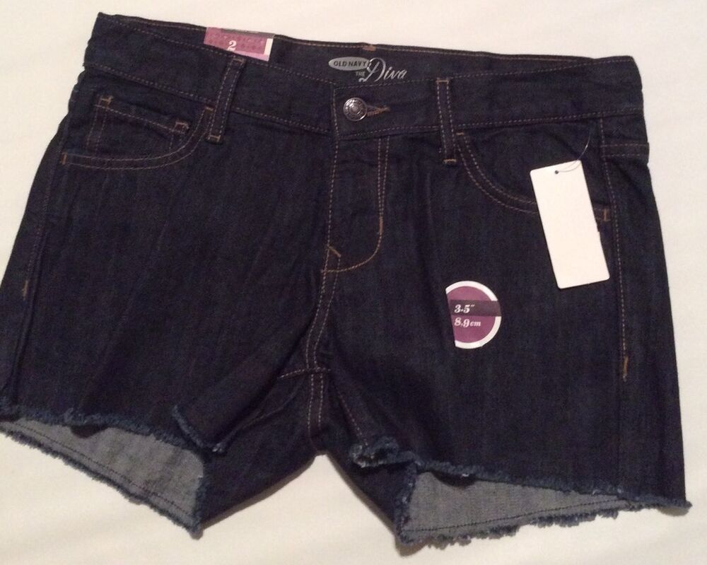 Old navy size 0 4 shorts womens diva blue jean 3 5 inseam for Womens fishing shorts