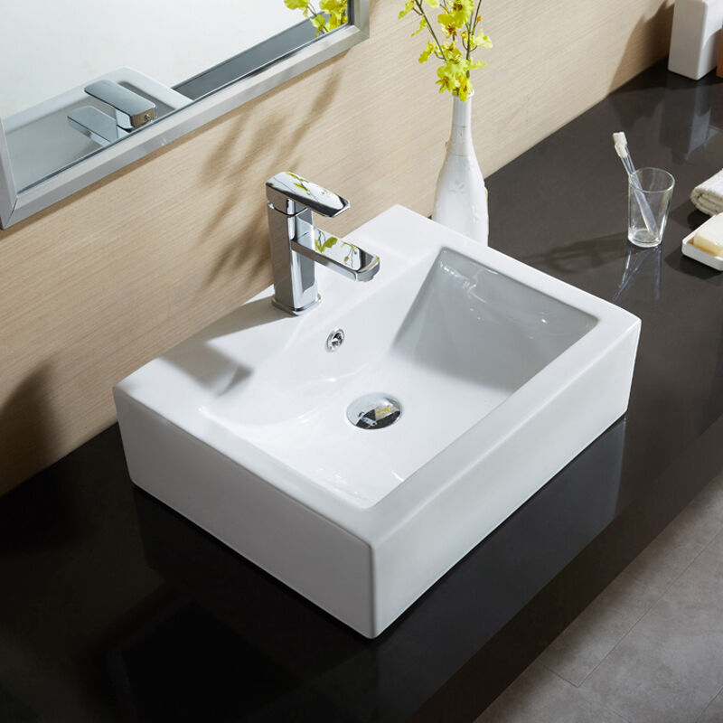Best Countertops For Bathroom: NEW RECTANGLE COUNTER TOP BASIN SINK UNIT CERAMIC SUIT