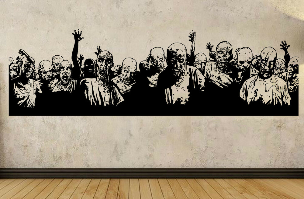 Zombie walking dead design wall sticker 200cmx 58cm ebay for Mural walking dead