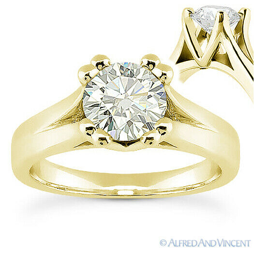 Round Cut Moissanite 14k Yellow Gold Cathedral Setting
