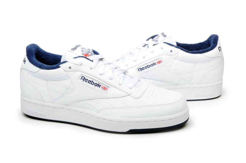 reebok men 39 s shoes club c classic leather 1330 white navy. Black Bedroom Furniture Sets. Home Design Ideas