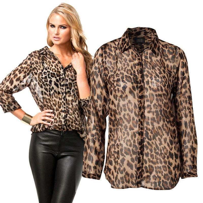 Chic women 39 s chiffon long sleeves leopard print t shirt for Print photo on shirt
