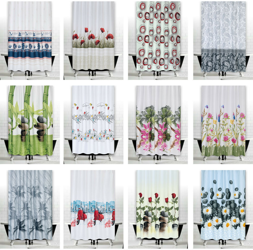 Modern Bathroom Shower Curtains Choice Of Extra Long And Wide Or Narrow Width Ebay