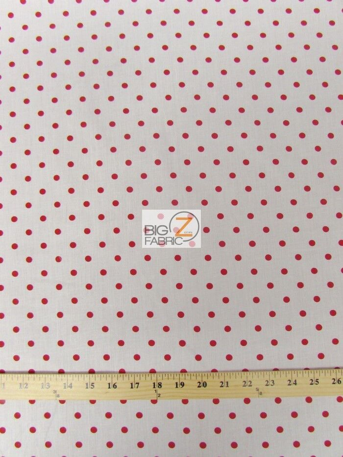 small polka dot poly cotton print fabric white red sold bty polycotton p93 ebay. Black Bedroom Furniture Sets. Home Design Ideas