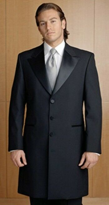 Men's Black 3/4 Length Frock Victorian Tuxedo Coat Jacket ...