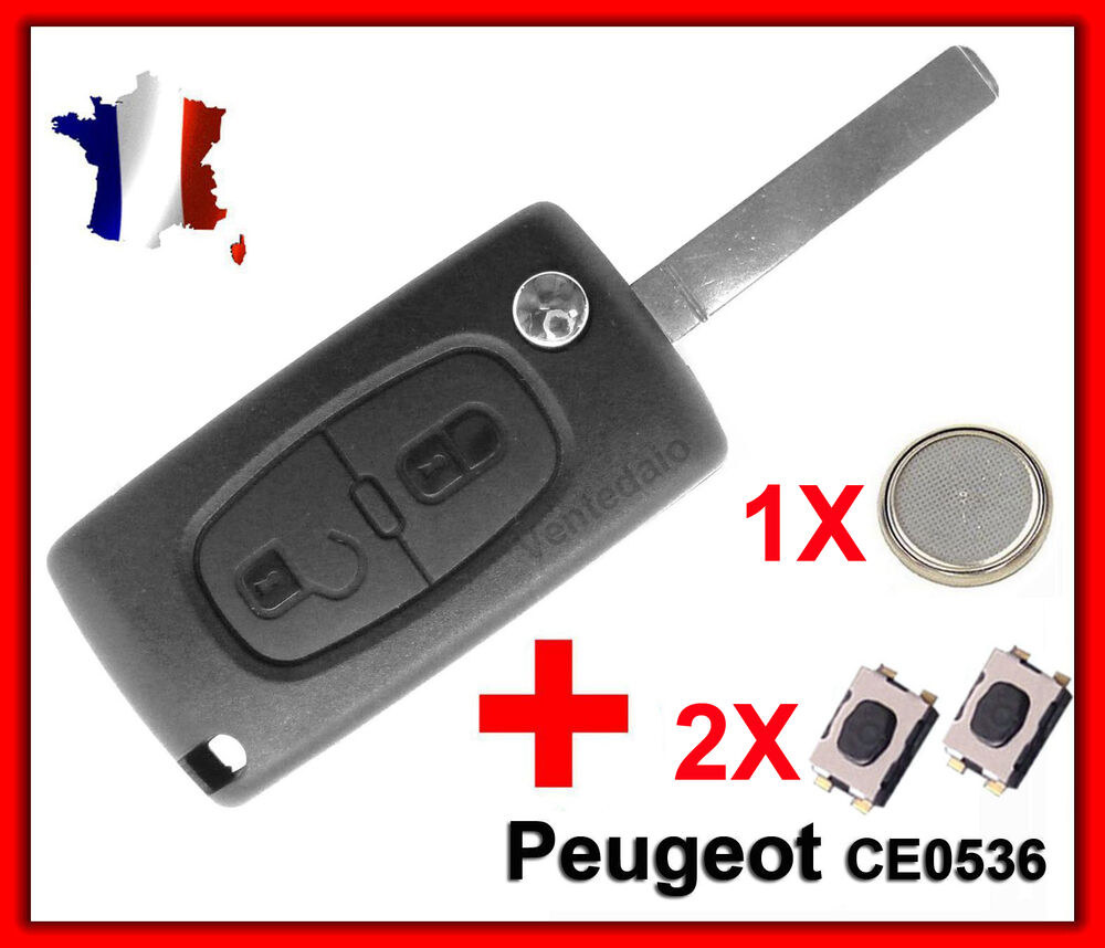 coque plip t l commande cl peugeot 107 207 307 sw 2 bouton switch pile ce0536 ebay. Black Bedroom Furniture Sets. Home Design Ideas