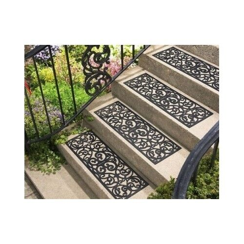 Stair Treads Outdoor Decorative Rubber Traction Black