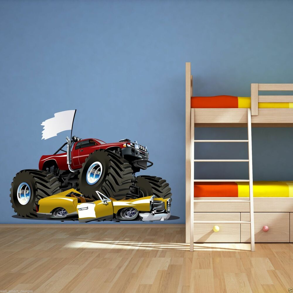 Full colour monster truck car wall art sticker decal mural for Cars wall mural sticker
