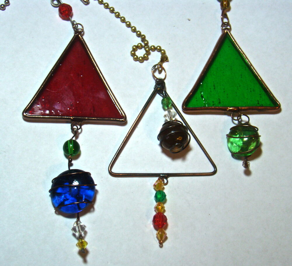 Large Glass Ceiling Fan Pulls: Assorted Stained & Fused Glass Triangle Ceiling Fan Light