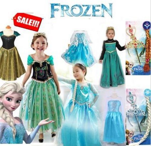 robe d guisement costume la reine des neiges frozen elsa anna enfant fille jupe ebay. Black Bedroom Furniture Sets. Home Design Ideas