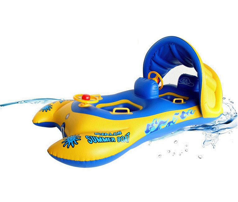 Sun Canopy Two Baby Inflatable Boat Float For 2 Babies